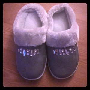Grey gemmed slippers sz 7/8